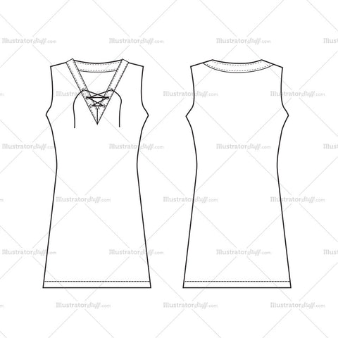 Women's Sleeveless Dress Fashion Flat Template