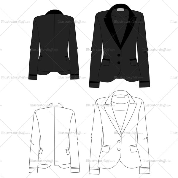 Women's Blazers Fashion Flat Templates