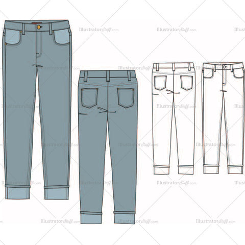Women's Boyfriend Jeans Fashion Flat Template