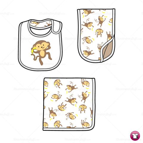 Infant Burp Cloth, Bib and Blanket Fashion Flat Template
