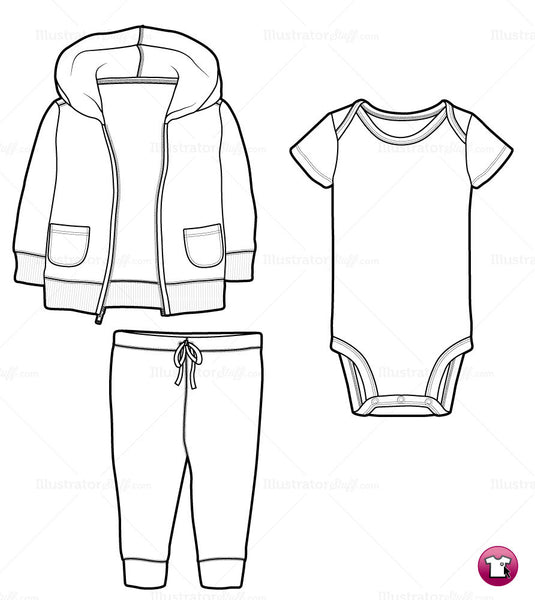 Infant Hoodie, Onesie and Pants Fashion Flat Template