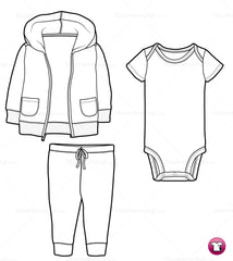 {Illustrator Stuff} Infant / Toddler Hooded Sweatshirt, Onesie and Pants Fashion Sketch Template