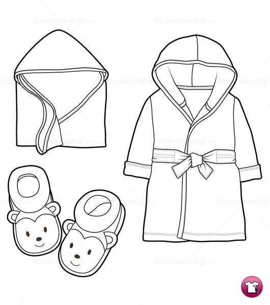 Infant Robe Slippers And Blanket Fashion Flat Template