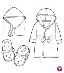 {Illustrator Stuff} Infant / Toddler Hoodie Robe, Blanket and Slippers Fashion Sketch Template