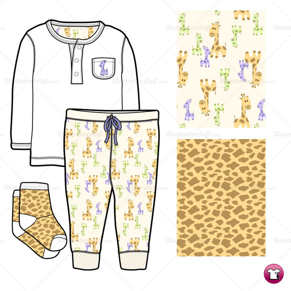{Illustrator Stuff} Infant Shirt, Pants and Socks Fashion Flat Template