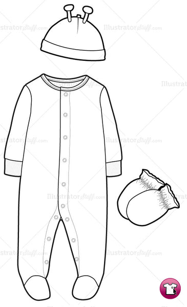 Infant Sleep and Play Fashion Flat Template