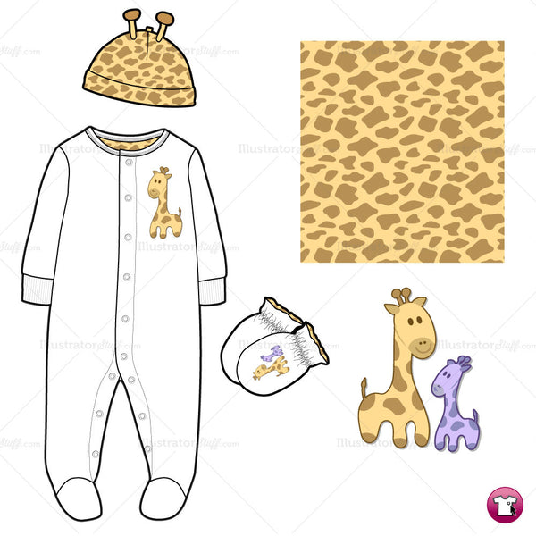 {Illustrator Stuff} Infant/Toddler Sleep & Play Fashion Flat Template