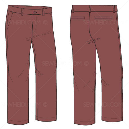 {Illustrator Stuff} Sew Heidi Men's Pant Illustration