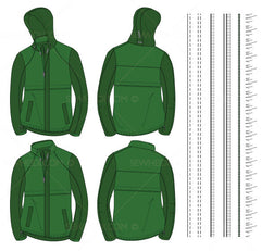 Men's Packable Hood Jacket Fashion Flat Template