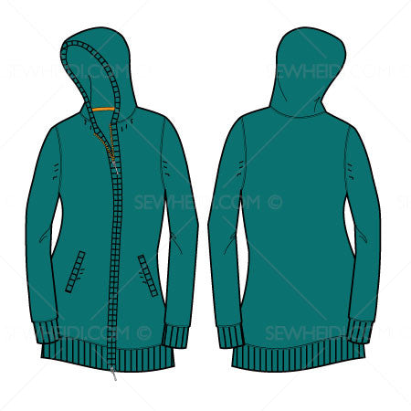 {Illustrator Stuff} Sew Heidi Women's Long Full Zip Hooded Sweater Illustration