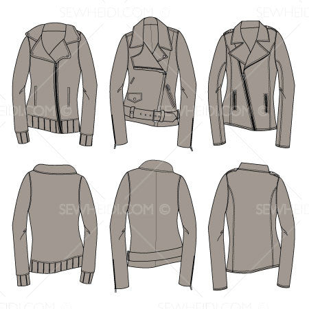 {Illustrator Stuff} Sew Heidi Women's Moto Jacket Illustrations