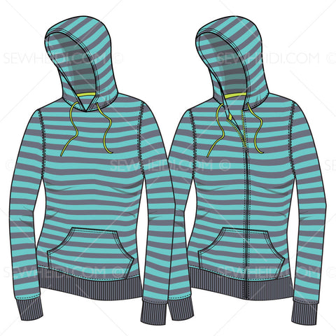 {Illustrator Stuff} Sew Heidi Women's Hoodie with Realistic Warped Pattern Fill