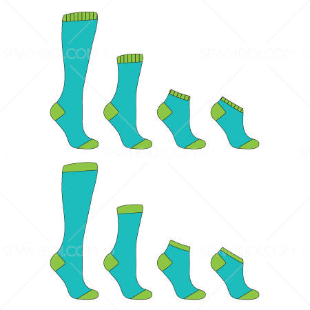 Basic Sock Illustration at 4 Standard Lengths