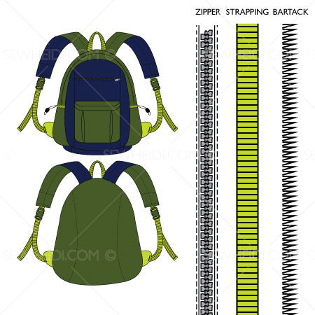 Front & Back Backpack Fashion Flat Template