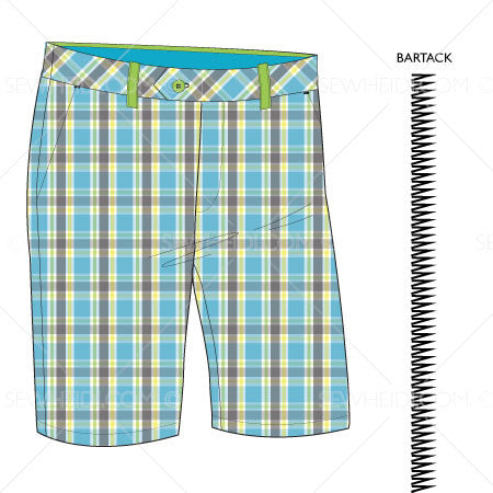 {Illustrator Stuff} Sew Heidi Men's Basic Short Illustration w/ Plaid Pattern