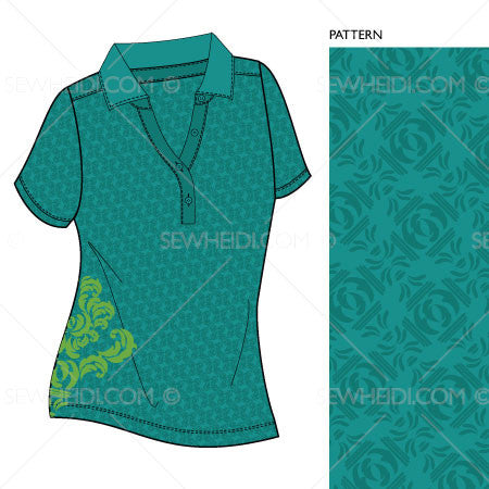 {Illustrator Stuff} Sew Heidi Women's Basic Polo Illustration