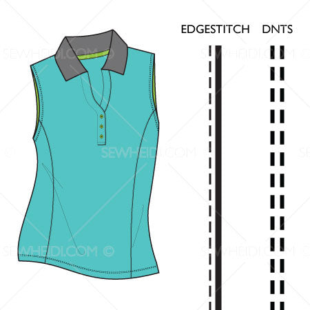 {Illustrator Stuff} Sew Heidi Women's Sleeveless Polo Illustration