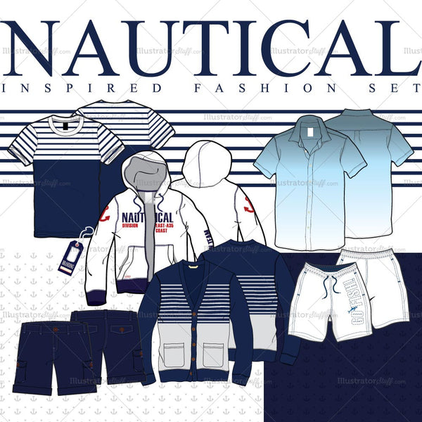 Men's Nautical Inspired Fashion Flat Template Set