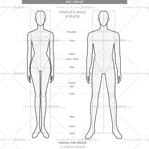 Body template for Fashion technical drawings (FEMALE & MALE 8 HEADS)