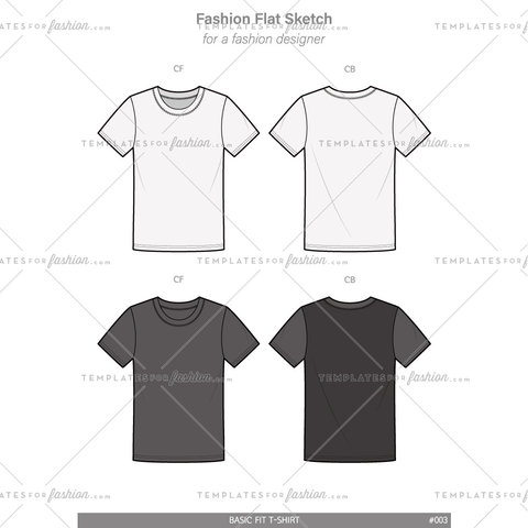 Basic Tee Shirt Fashion Flat Technical Drawing Vector Template