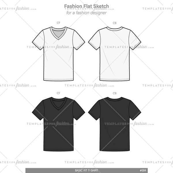 Basic V-neck Tee shirt Fashion flat technical drawing vector template