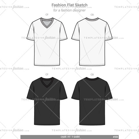 V-neck OVER FIT Tee shirt Fashion flat technical drawing vector template