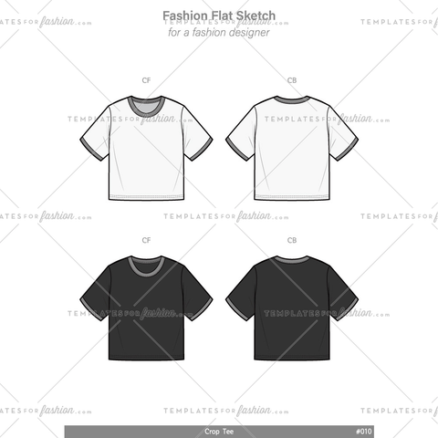 Crop top Tee Fashion flat technical drawing vector template