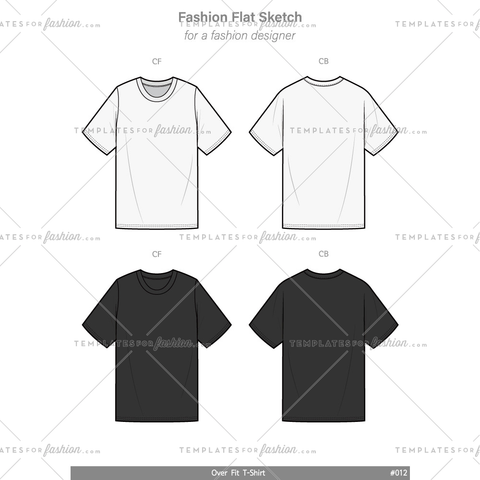 OVER FIT Tee shirt Fashion flat technical drawing vector template
