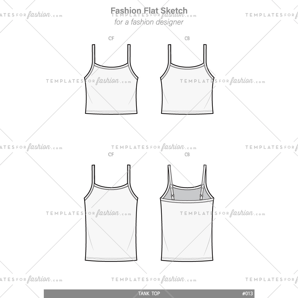 Tank Top Template | Tank Top Fashion Flat Technical Drawing Vector Template Templates