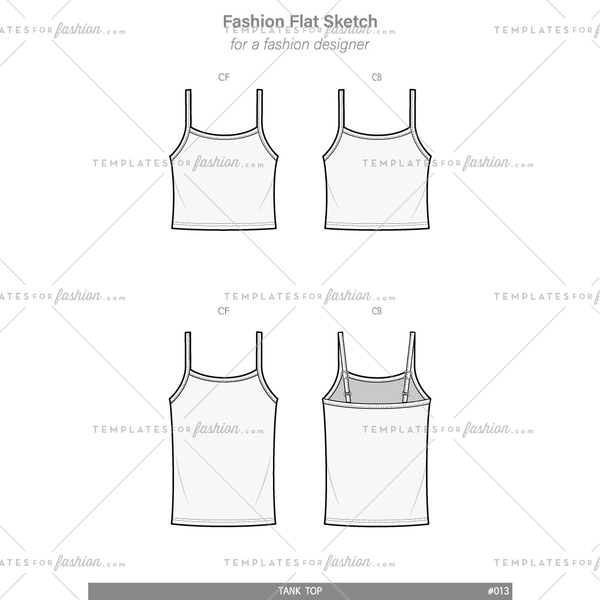 TANK TOP Fashion flat technical drawing vector template