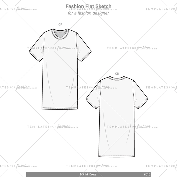 T-Shirt Dress Fashion flat technical drawing vector template