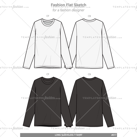 LONG SLEEVE T-SHIRTS Fashion flat technical drawing vector template