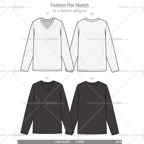 V-neck LONG SLEEVE T-SHIRTS Fashion flat technical drawing vector template