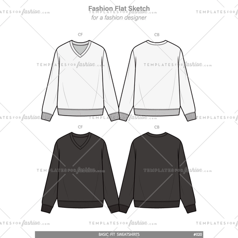 BASIC FIT SWEATSHIRTS Fashion flat technical drawing vector template