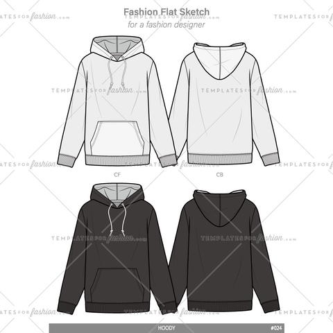 HOODIE Fashion flat technical drawing vector template