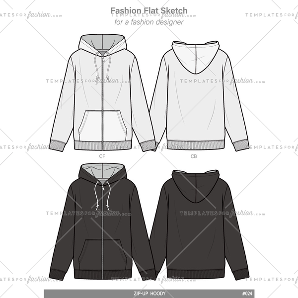 ZIP-UP HOODIE Fashion flat technical drawing vector template