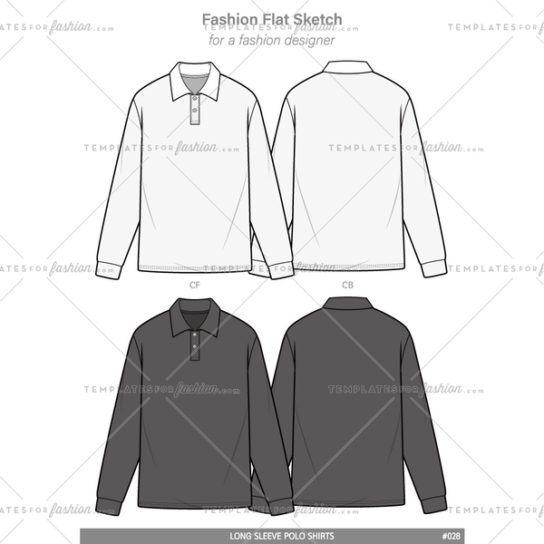 POLO SHIRTS long sleeve Fashion flat technical drawing vector template