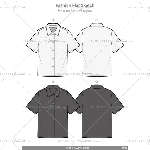 Over fit SHORT SLEEVE SHIRTS Fashion flat technical drawing vector template