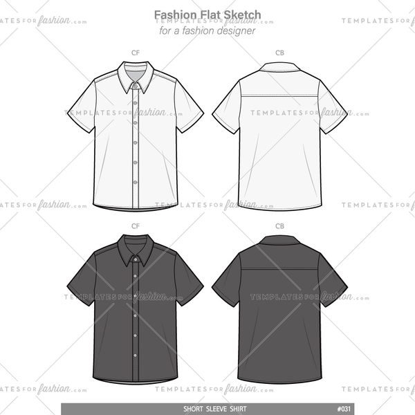 SHORT SLEEVE SHIRTS Fashion flat technical drawing vector template