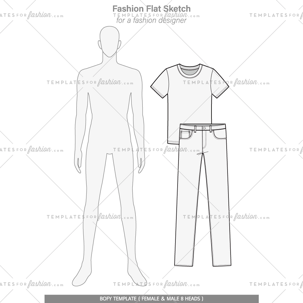 Body Template Fashion Flat Technical Drawing Vector