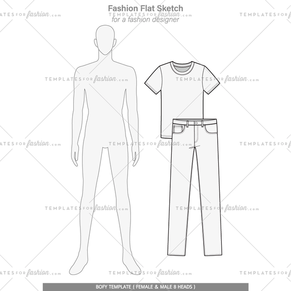 Body template Fashion flat technical drawing vector template