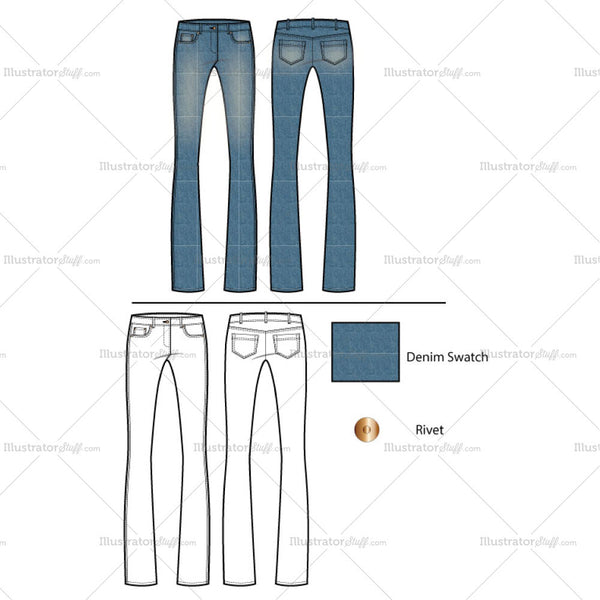 Women's Flared Classic Jeans Fashion Flat Template