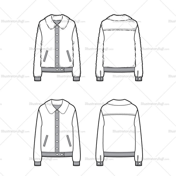 Fleece Jacket Flat Template