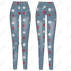 {Illustrator Stuff} Women's Light Wash Jean Fashion Flat Template