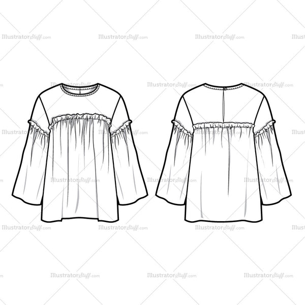 Frill Top Flat Template Templates For Fashion