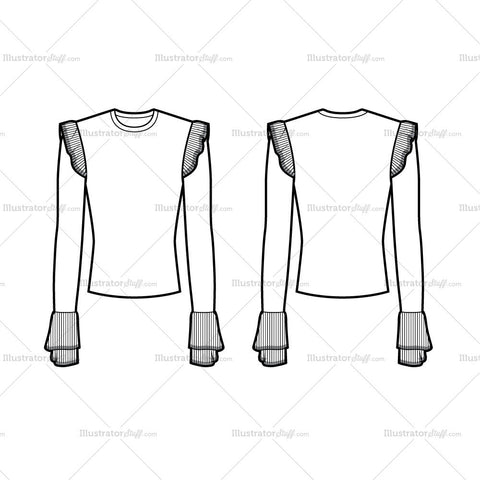 Frill Top Flat Template