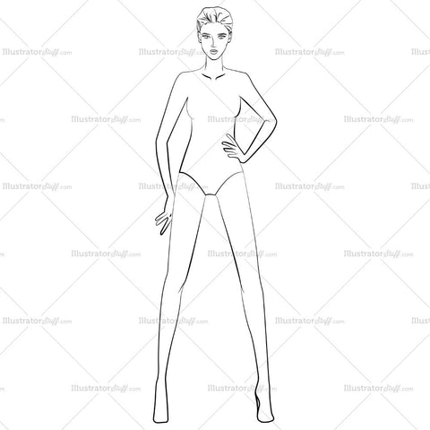 Runway Fashion Croquis Figure Template