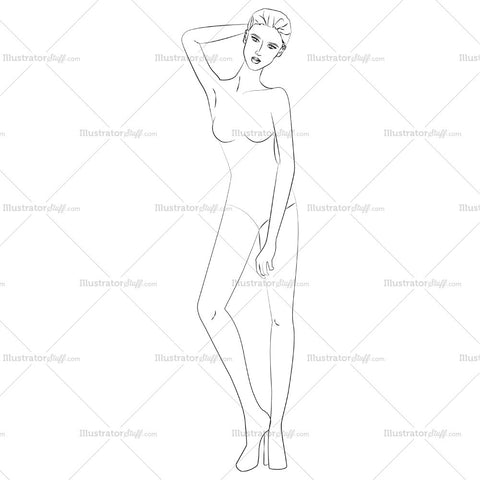 Runway Fashion Front Croquis Figure Template
