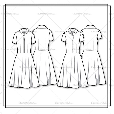 Full Shirt Dress Flat Template Flat Template