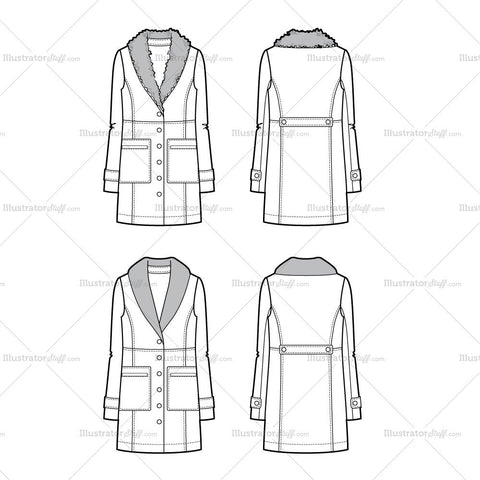 Fur Collar Coat Flat Template